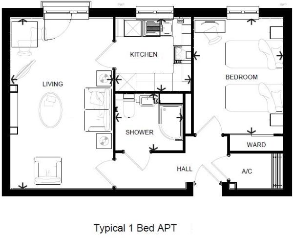 Typical 1 Bed Layout