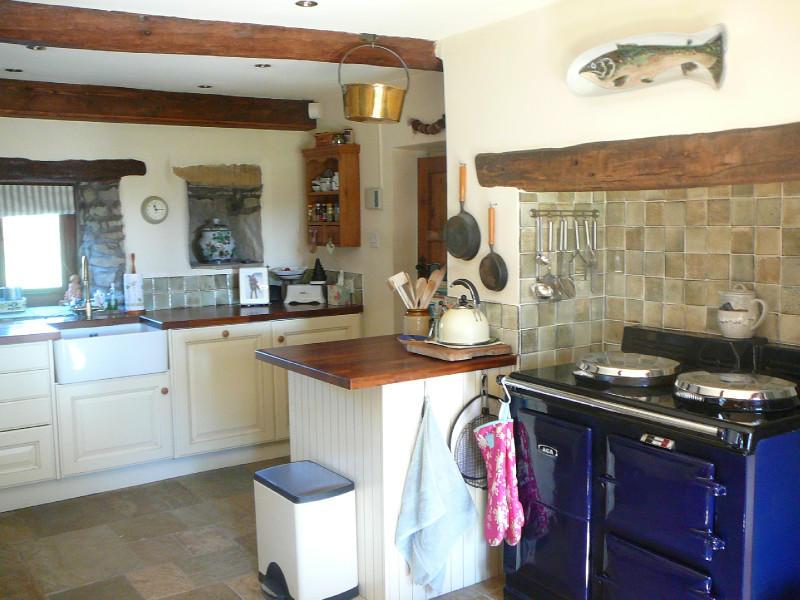 of farmhouse kitchen small traditional beige blue cream white kitchen