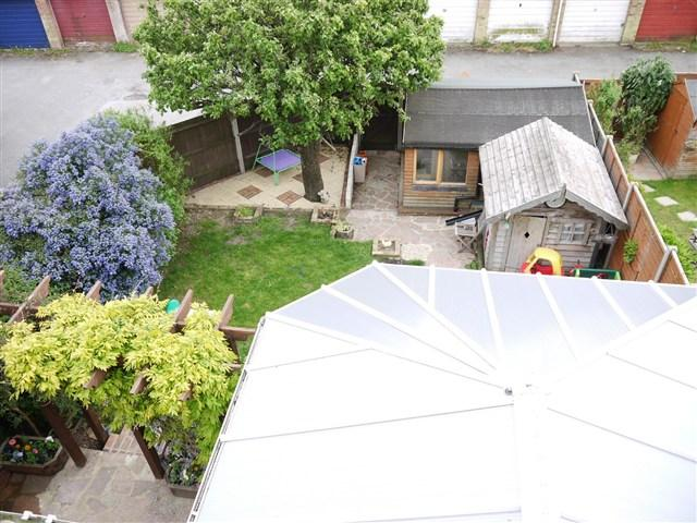 view of garden from second floor bedroom