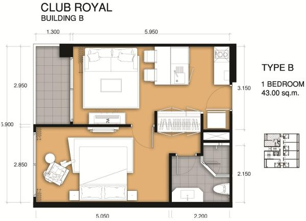 Room plan 43 Sqm