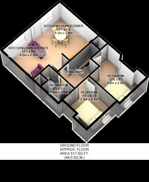 SECOND FLOOR 3D PLAN