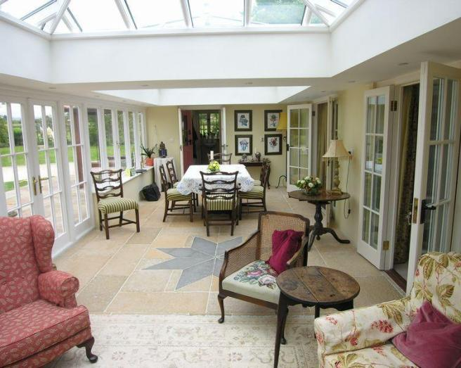 photo of beige olive white amtico conservatory with flooring skylight upholstery