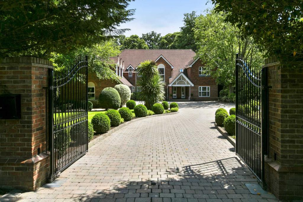 Gated front driveway