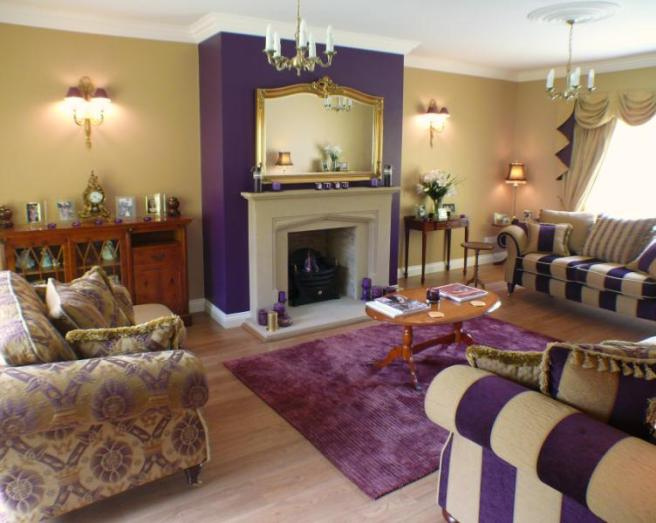 Purple living room design ideas photos inspiration - Beige and purple living room ...