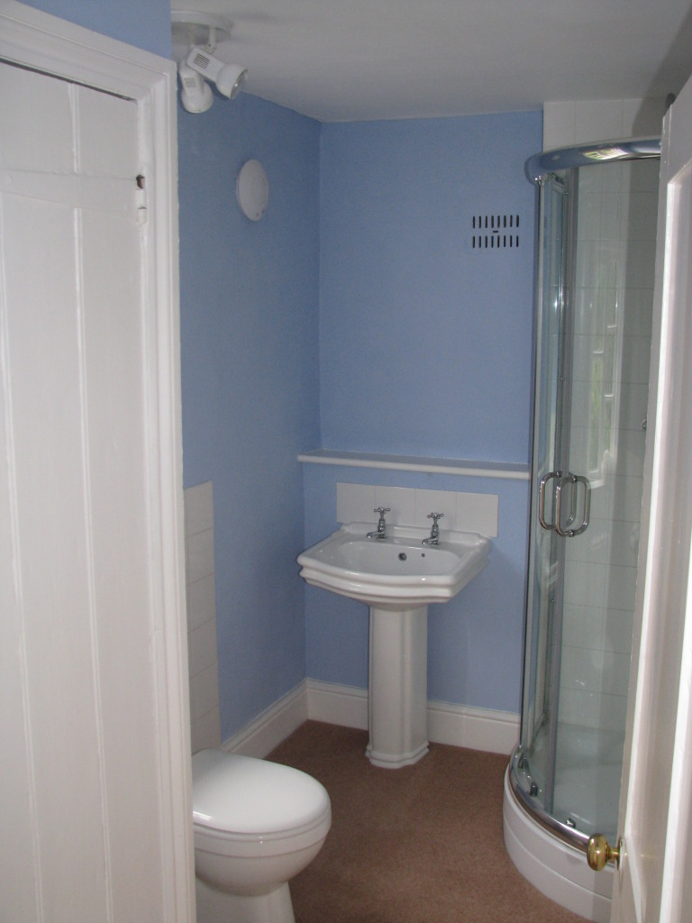 Bathroom 1 shower, suite and airing cupboard