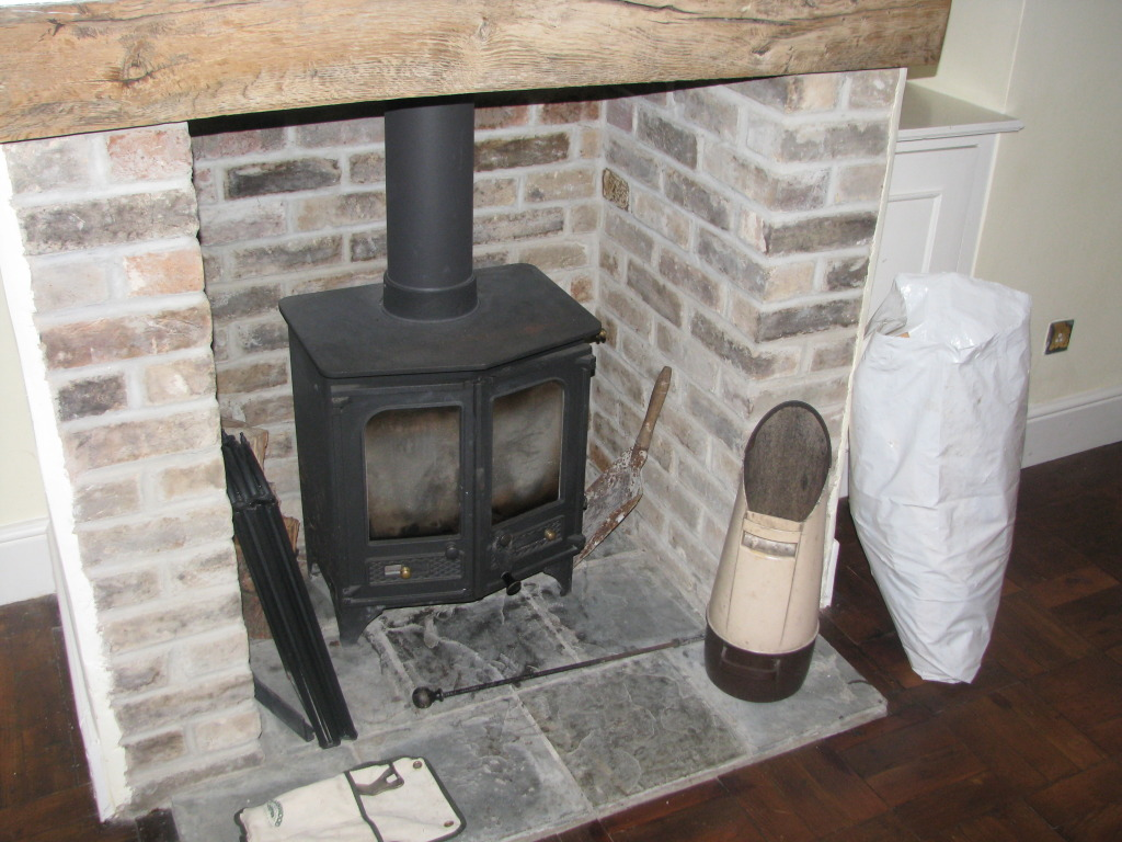 Fireplace with woodburning stove