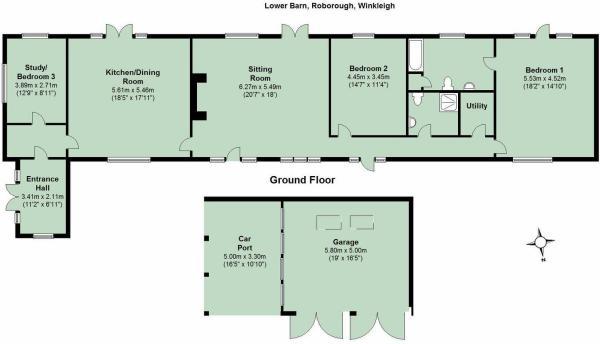 3 bedroom detached bungalow for sale in roborough ex19 for Barn conversion floor plans