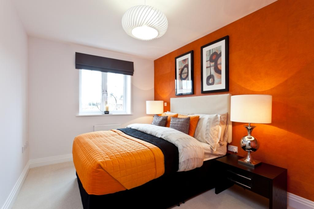 Modern feature wall design ideas photos inspiration for White and orange bedroom designs