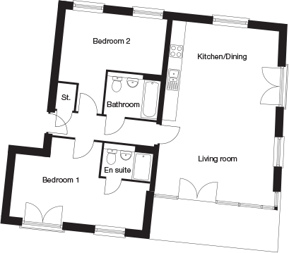 Taylor-Wimpey-C2C-2 bedroom-ground-first-second-floor-plan
