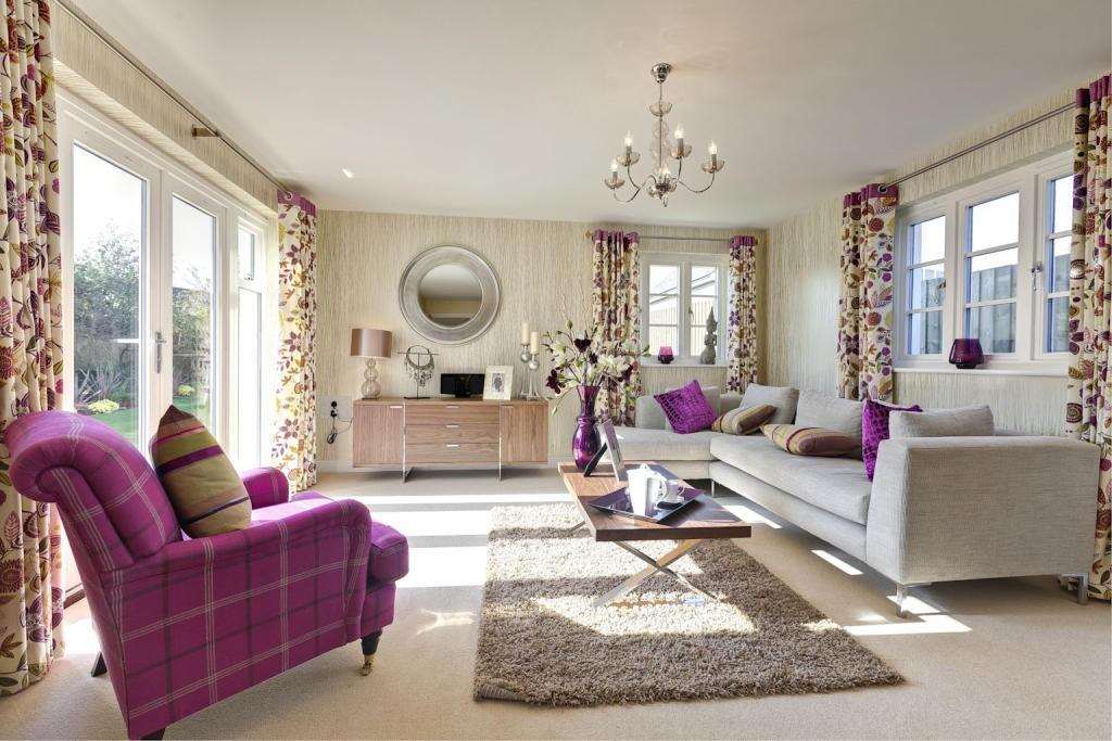 Click to see a larger image - Beige and purple living room ...