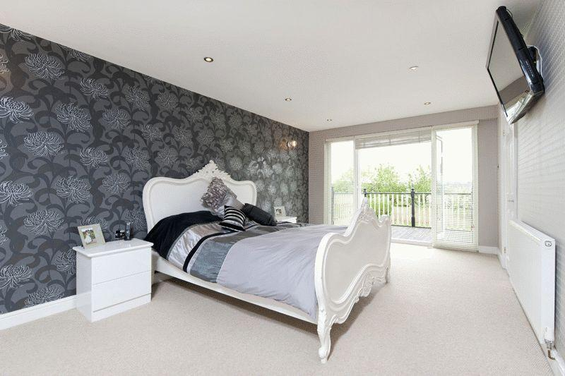 Grey Feature Wallpaper Bedroom Of Silver Bedroom Design Ideas Photos Inspiration