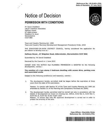 Notice of decison