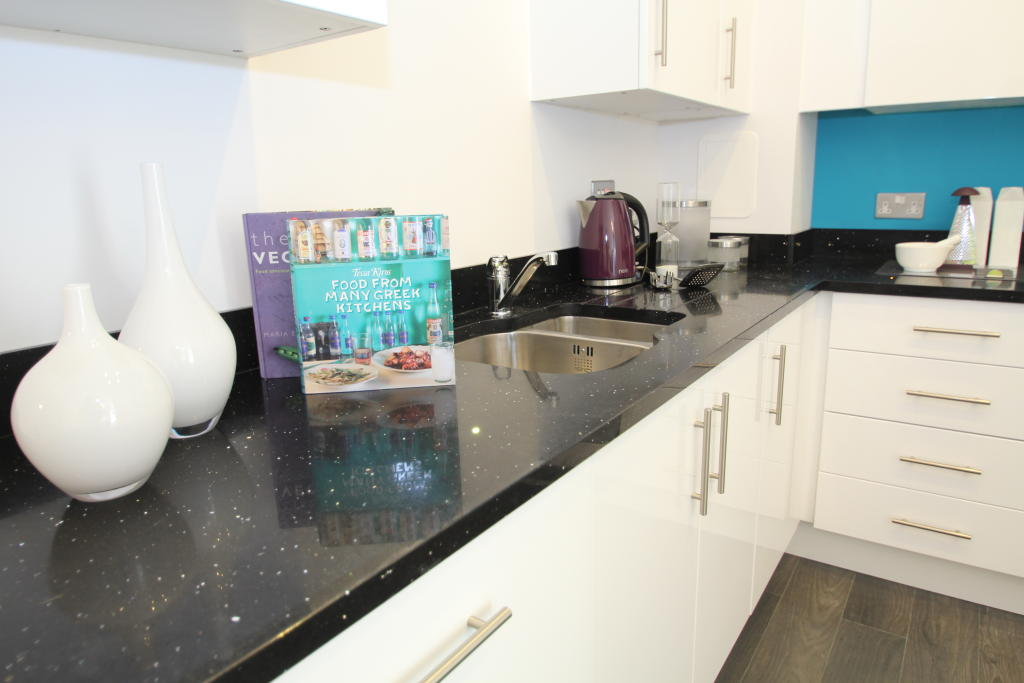White Kitchen Units Black Worktop white cabinets, no grey tiles black worktop (very similar to