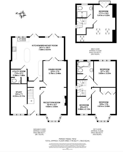 4 bedroom house for sale in percy road hampton tw12 for Floor plans for a semi detached house extension