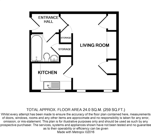 Floorplan of Studio flat Felpham Bognor Regis