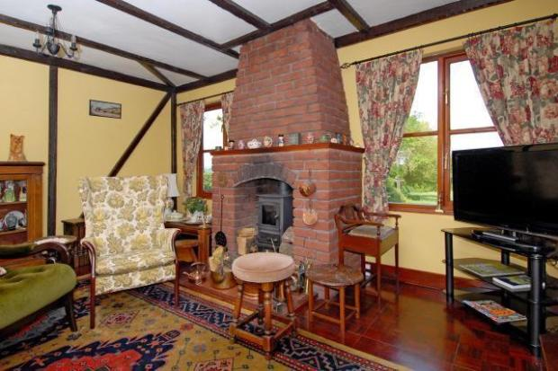Feature fireplace with woodburning stove