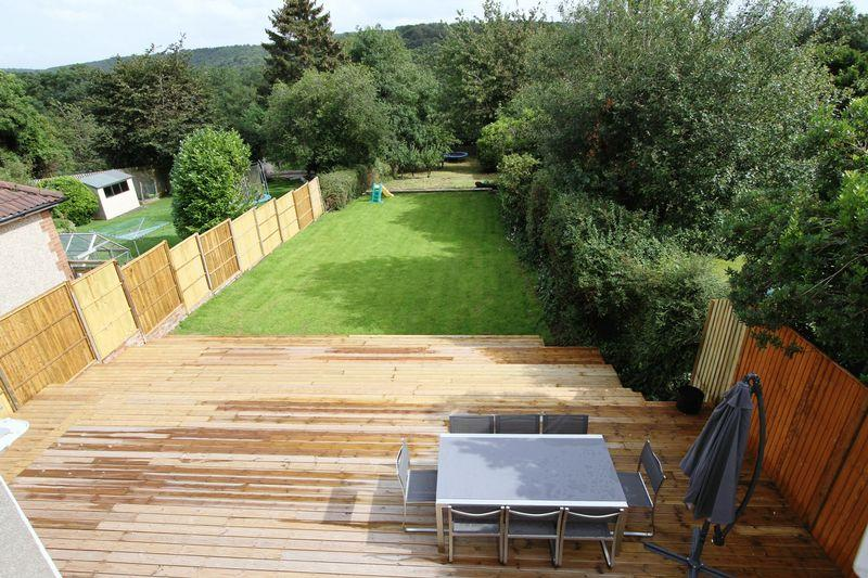 Lawn rear garden design ideas photos inspiration for Garden design decking areas