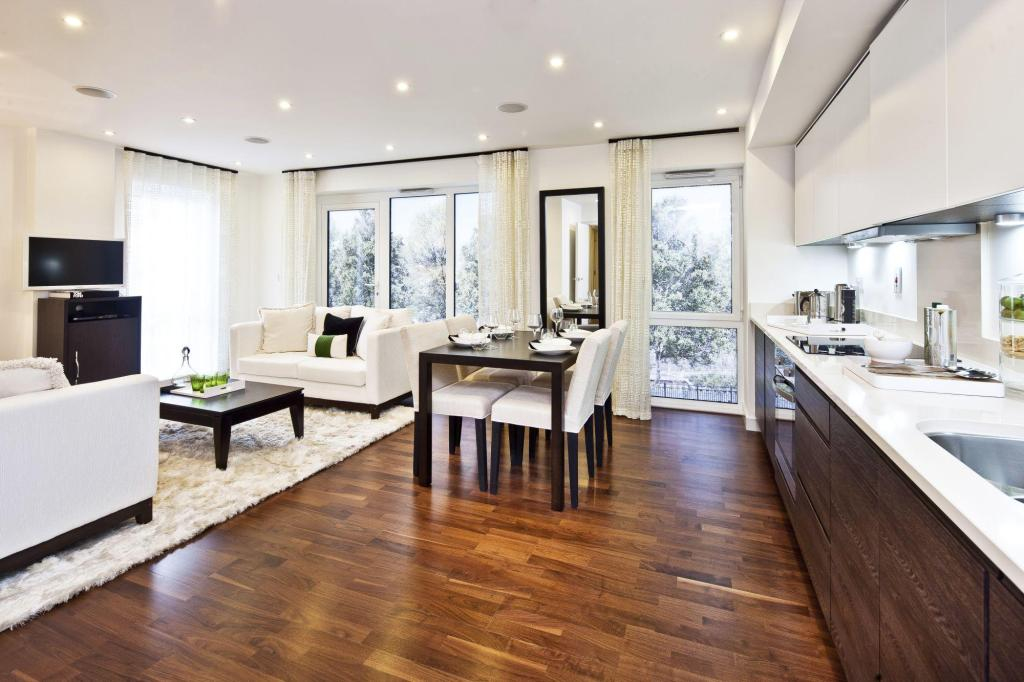 Open plan brown dining room design ideas photos for Dining room ideas open plan
