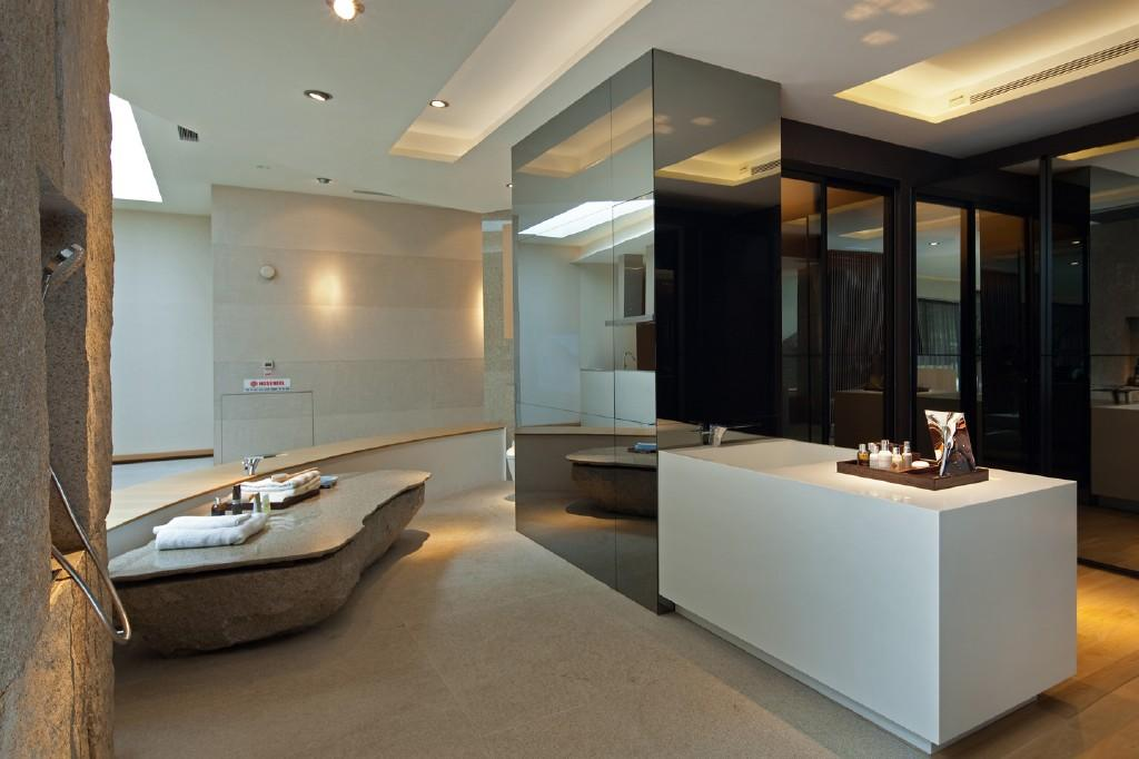 of colourful contemporary luxury beige brown white bathroom ensuite