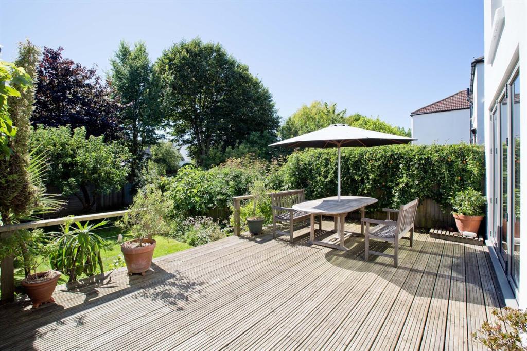 Sunny decked patio a