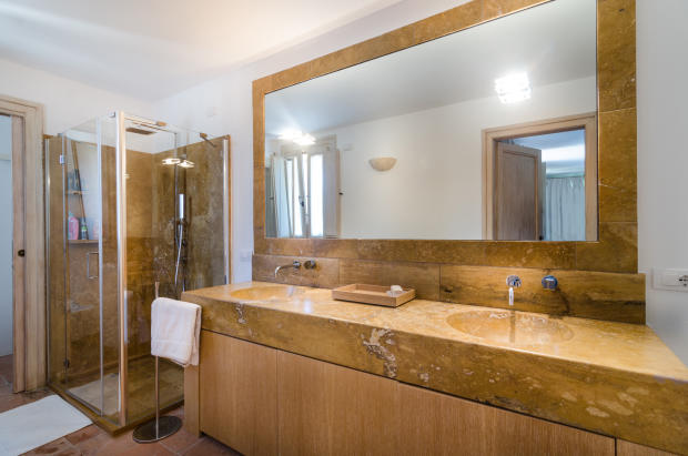Bathroom marble twin sink shower Villa Cassedda Porto Cervo Sardinia