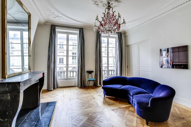 Living room parquet flooring wood chandelier fireplace Saint Germain des pres Luxembourg Gates Paris