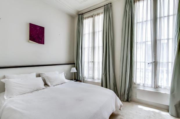 Bedroom large windows Saint Germain des pres Luxembourg Gates Paris