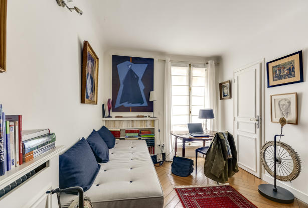 Office guest bedroom parquet floor Rue Jean Mermoz Paris