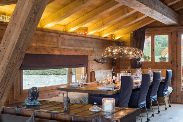 Dining room at Chalet Vermont in Verbier