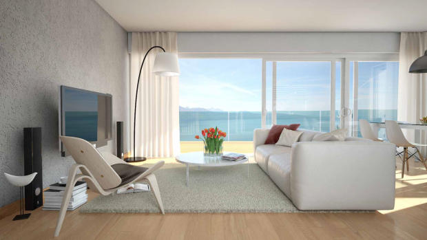 TV and sitting room area CGI at Les Terrasses development overlooking Lake Geneva