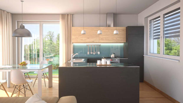 Modern kitchen CGI in apartment at Les Terrasses du Lac development on Lac Lemán