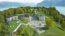 Aerial CGI of Les Terrasses du Lac development with views of Lac Lemán and mountains