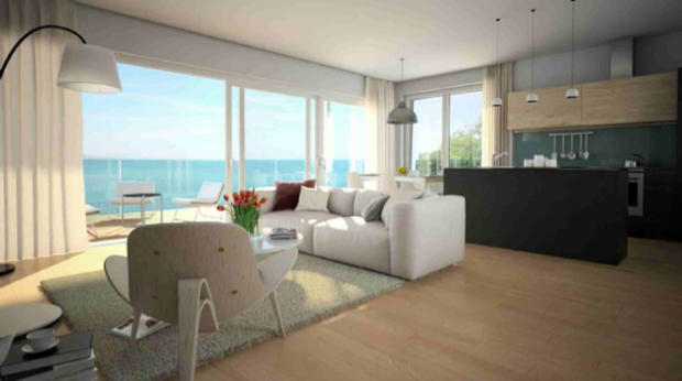 Open plan living room and kitchen CGI in apartment overlooking Lac Lemán at Les Terrasses