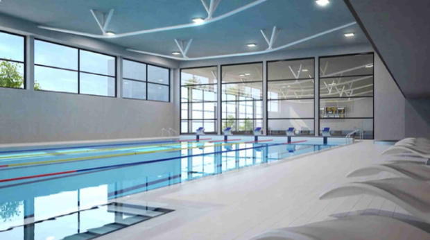 CGI of Les Terrasses du Lac swimming pool complex
