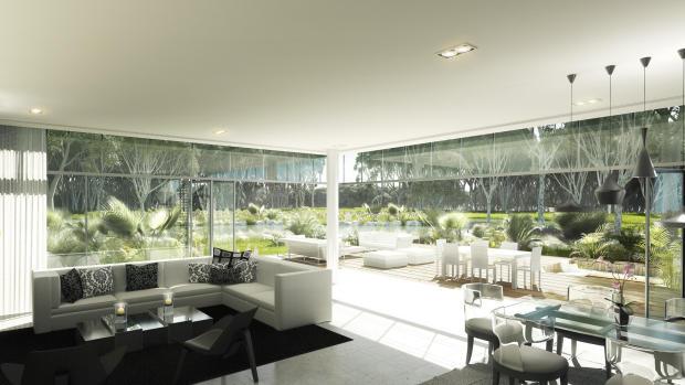 Living room dining open plan full height windows marble patio Ashjar Al Barari Dubai