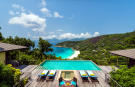 Aerial view swimming pool sun terrace Four Seasons Seychelles