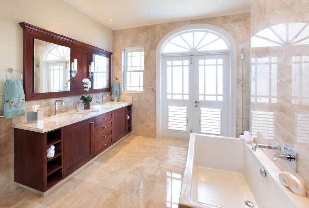Bathroom marble floor bath tub twin sink Port Ferdinand Barbados