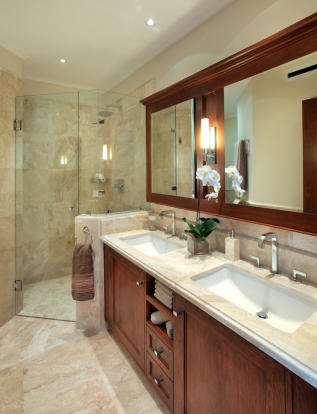 Bathroom marble floor shower twin sink Port Ferdinand Barbados
