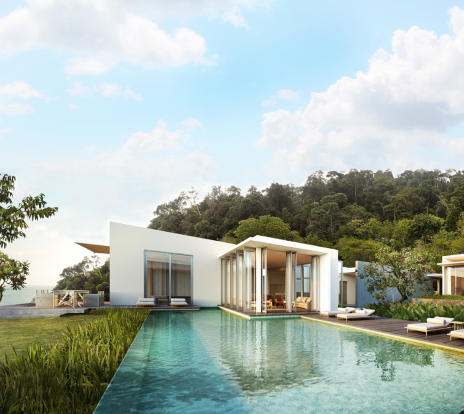 Infinity edge swimming pool rear facade Alila Villas Koh Russey Cambodia