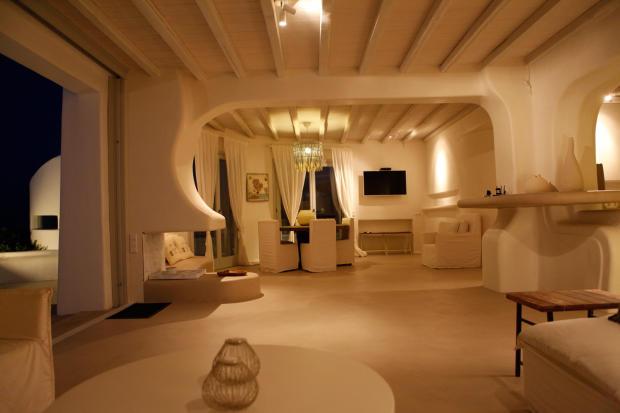 Living room dining sliding doors open plan Fanari Mykonos