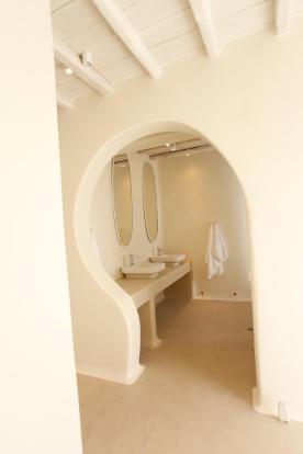 Ensuite bathroom twin sink Fanari Mykonos