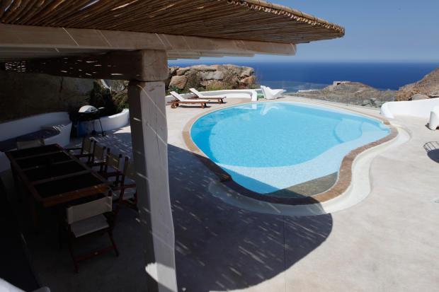 Swimming pool covered terrace sun Fanari Mykonos