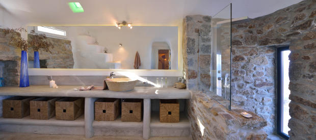 Bathroom stone shower sink Lia Mykonos