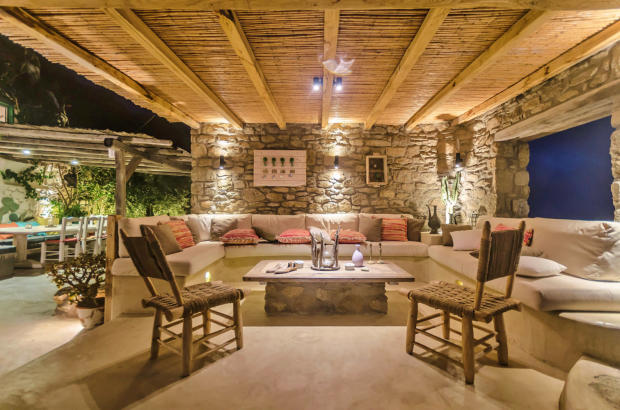 Living room sitting area covered Lia Mykonos