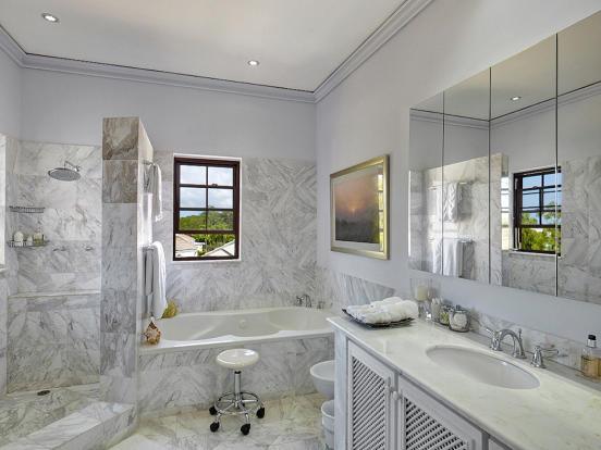 Bathroom marble bath tub shower Sand Box at Sandy Lane Barbados