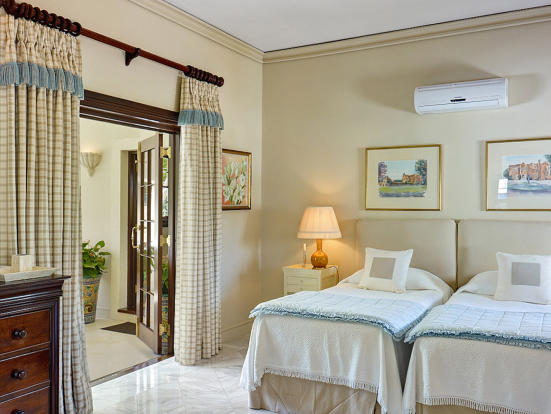 Bedroom twin ensuite bathroom marble floor Sand Box at Sandy Lane Barbados