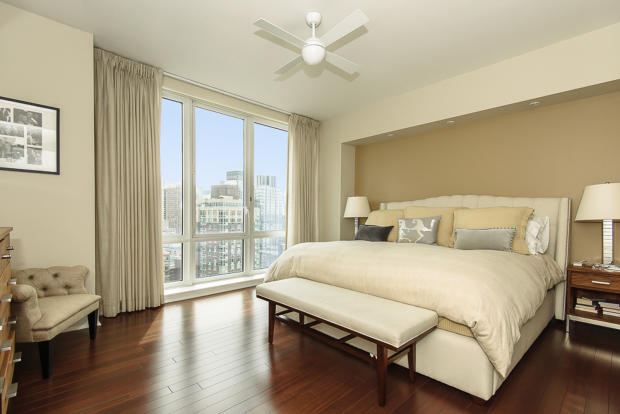 Bedroom master wood floor city view Riverside Boulevard New York