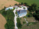 Aerial main house swimming pool Les Jaudons Saint Porchaire