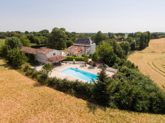 Aerial property swimming pool Les Jaudons Saint Porchaire