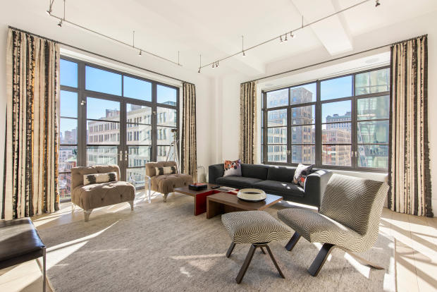 Living room large window city view Park Avenue South New York